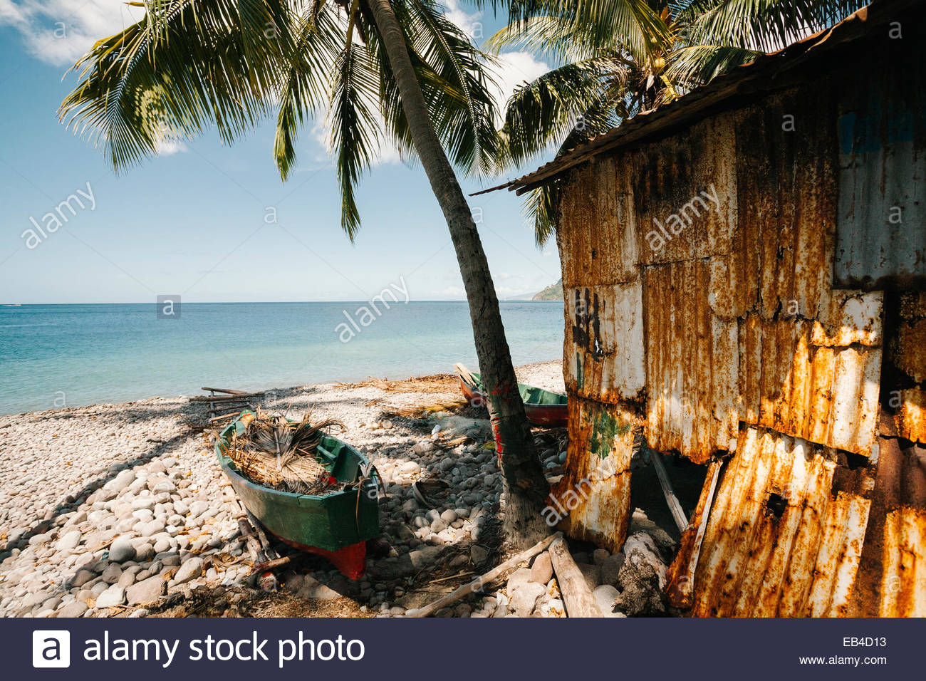 A boat beached next to a building with corrugated iron siding and a palm tree in Scotts Head on Dominica Island, - Stock Image