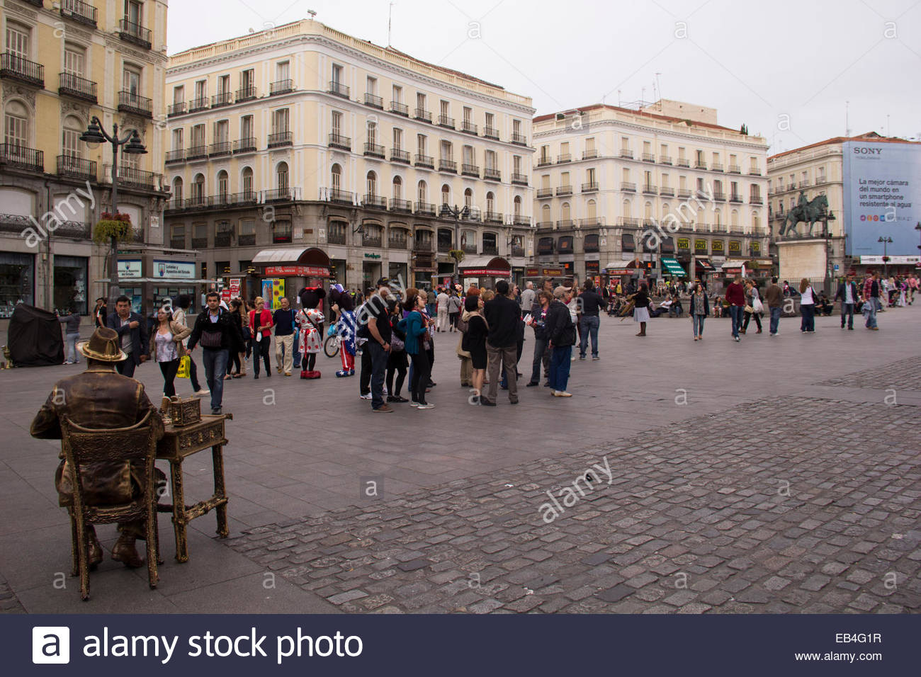 The historic Plaza de Sol is the social center point for city-dwellers. - Stock Image