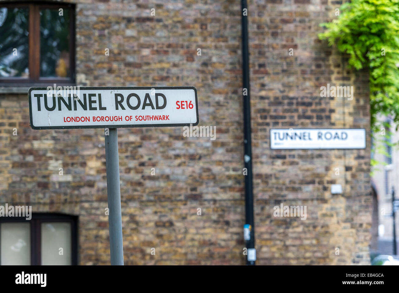 Tunnel Road in Rotherhithe celebrates the famous engineer Isambard Kingdom Brunel and the Thames Tunnel - Stock Image