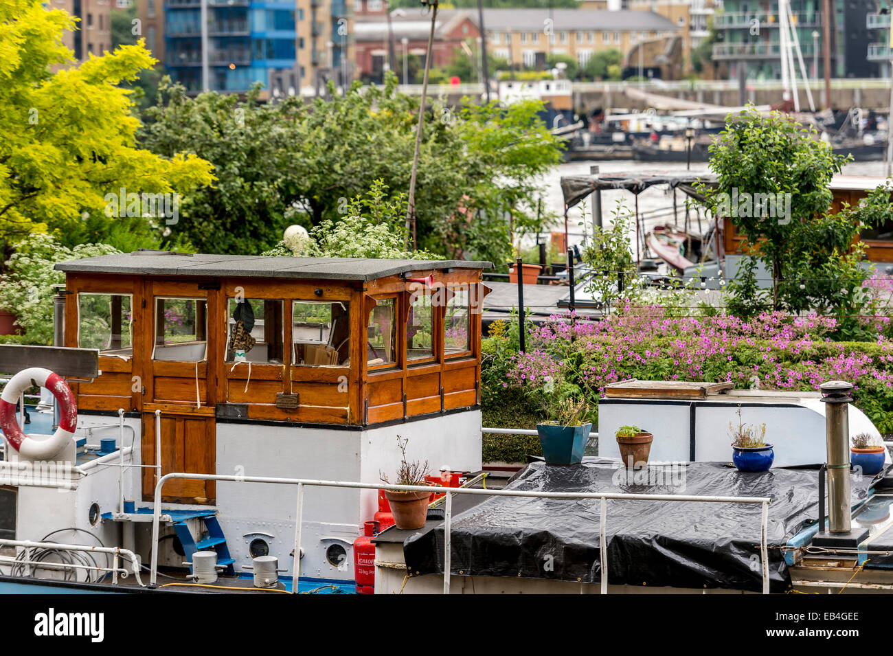 House boats and barges on the River Thames at Shad Thames, with gardens and plants on deck - Stock Image
