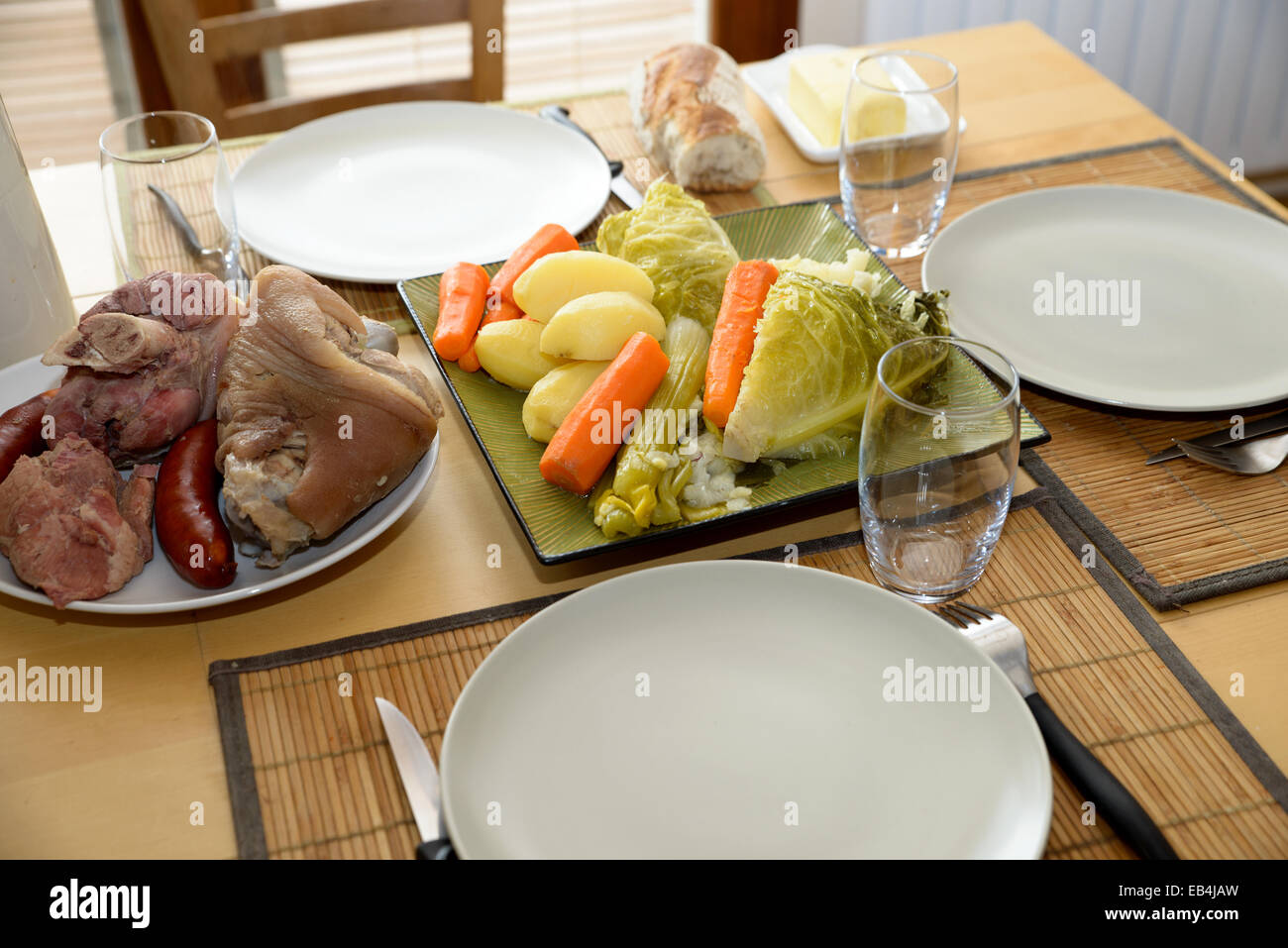 pot-au-feu with meat and vegetables in a dish Stock Photo