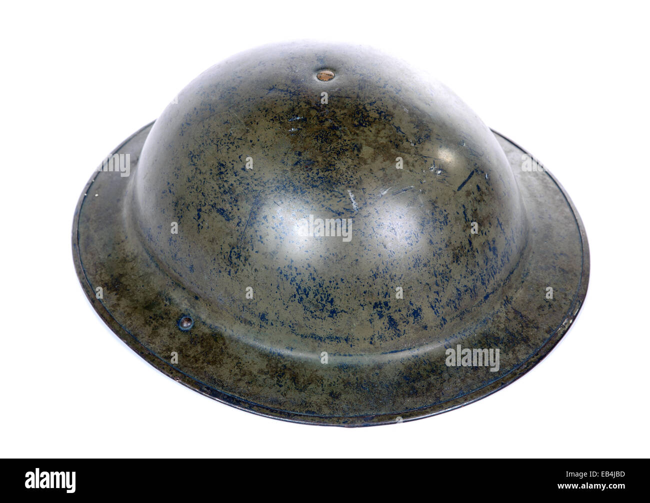British ww2 military helmet isolated on a white background - Stock Image