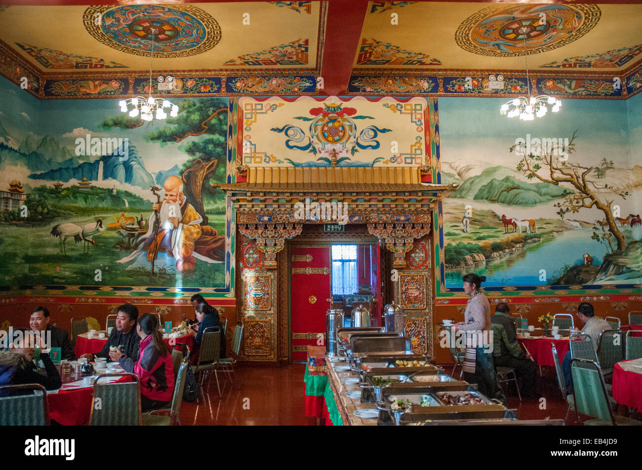 Dining room of the Gyantse Hotel at Gyantse, Tibet, China - Stock Image