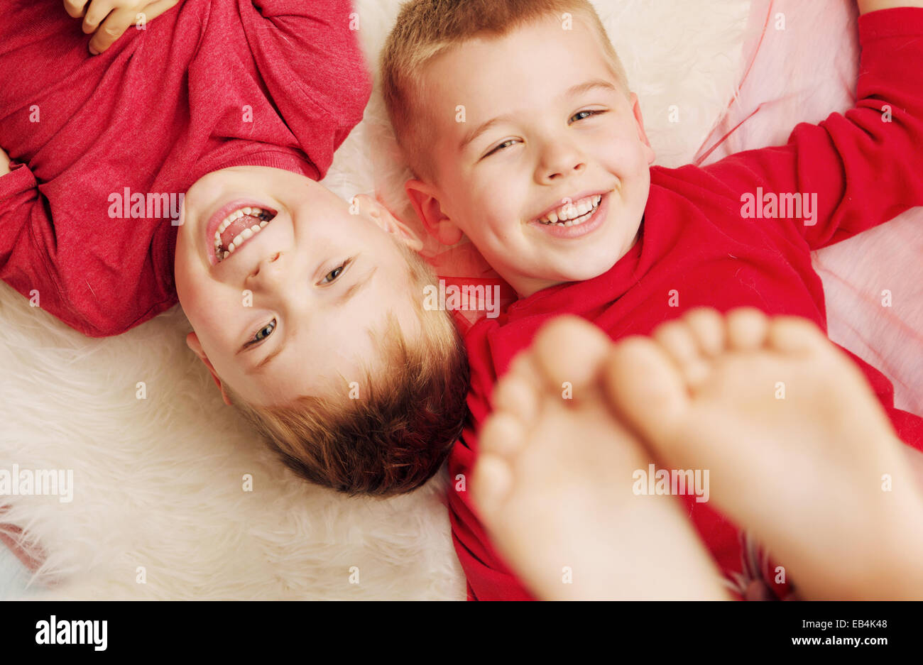 Portrait of two cute brothers - Stock Image
