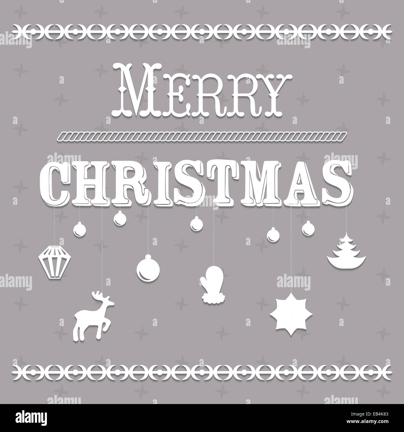 Typographic Christmas text and Design illustration - Stock Image