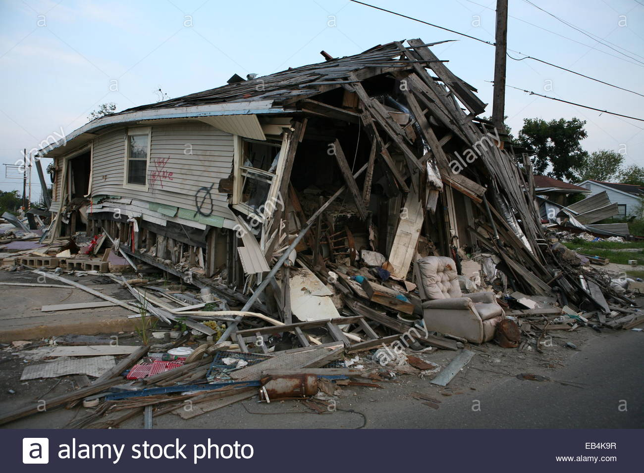 Houses in Lower Ninth Ward of New Orleans that were severely damaged during Katrina. - Stock Image