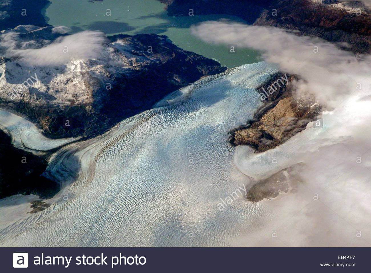 Aerial view of a glacier in Campo de Hielo Sur, Southern Patagonian Ice Field. - Stock Image