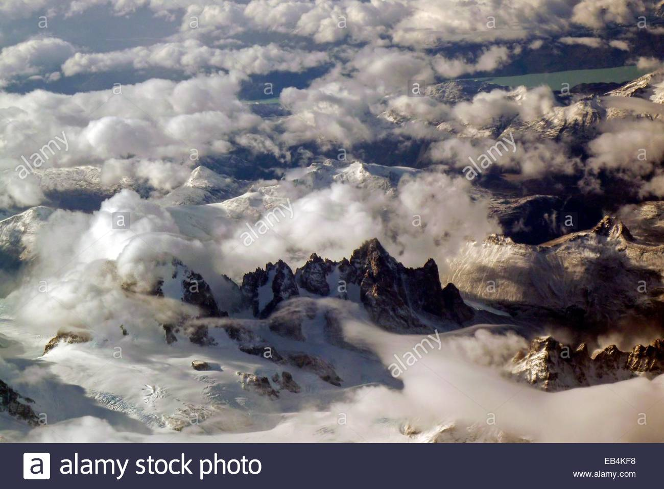 Aerial view of the Campo de Hielo Sur, Southern Patagonian Ice Field, Torres del Paine National Park. - Stock Image