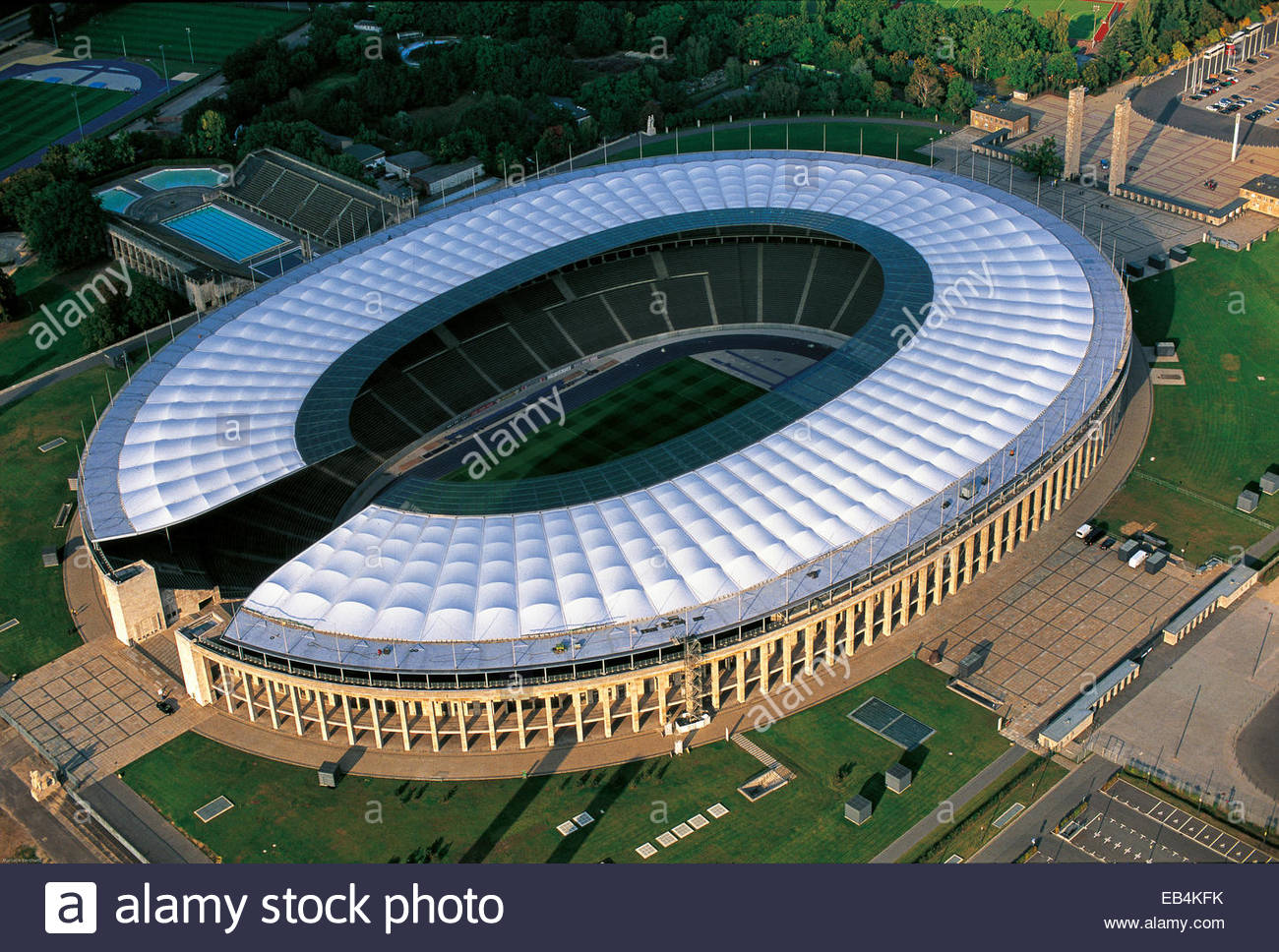 An aerial view of Olympic Stadium, Olympiastadion, in Berlin. - Stock Image