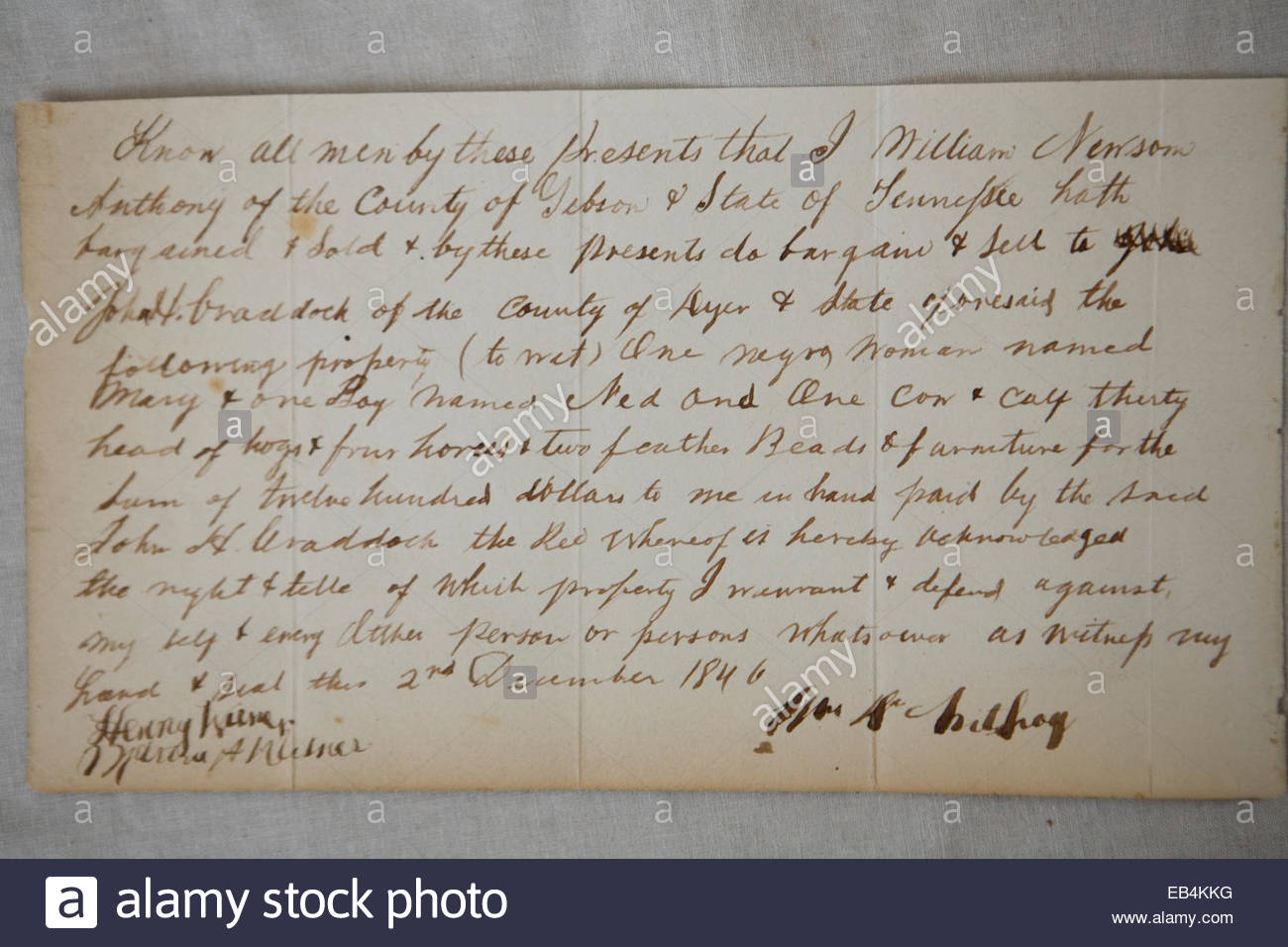 Receipt for sale of slaves in Tennessee, Dec. 2, 1846. - Stock Image