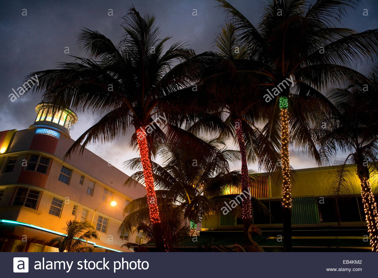 Neon lights adorning businesses and restaurants along Ocean Drive in the historic art deco South Beach. - Stock Image