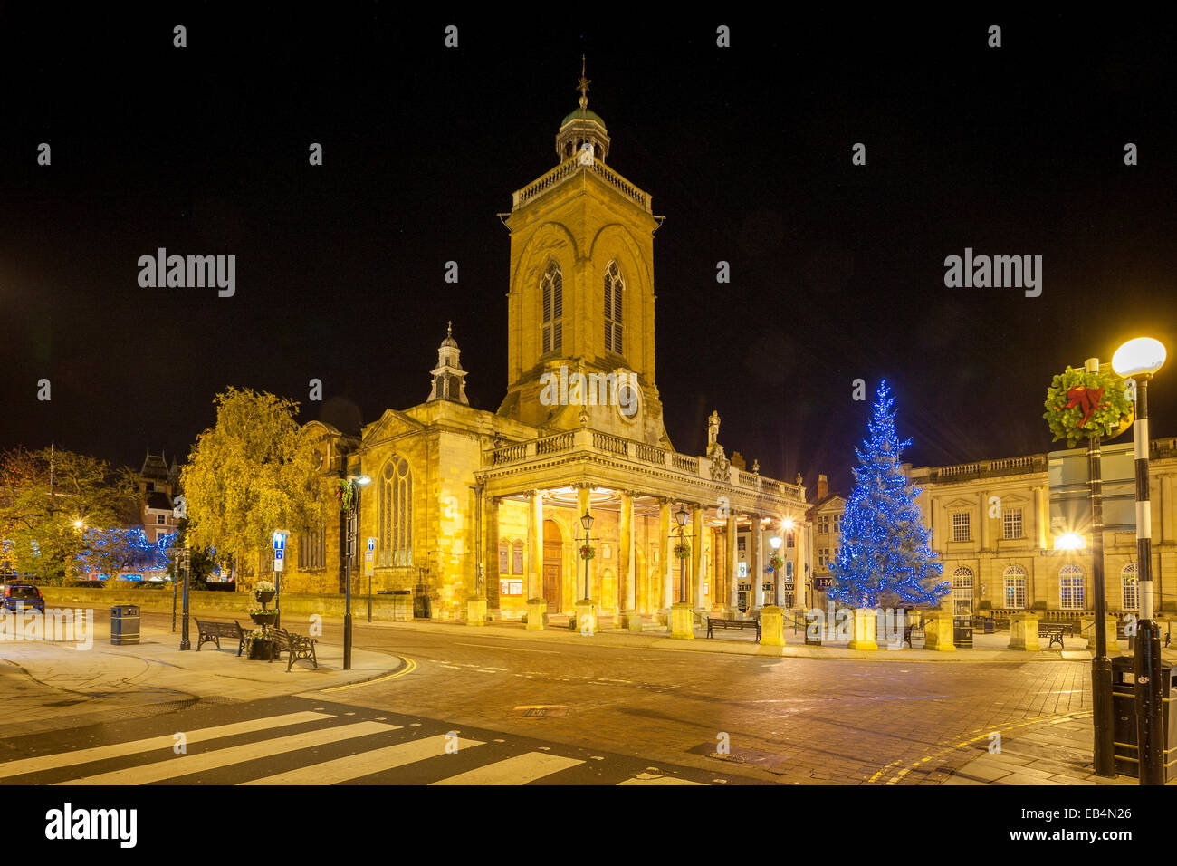 All Saints Church Northampton Town Centre in the early hours of the morning - Stock Image