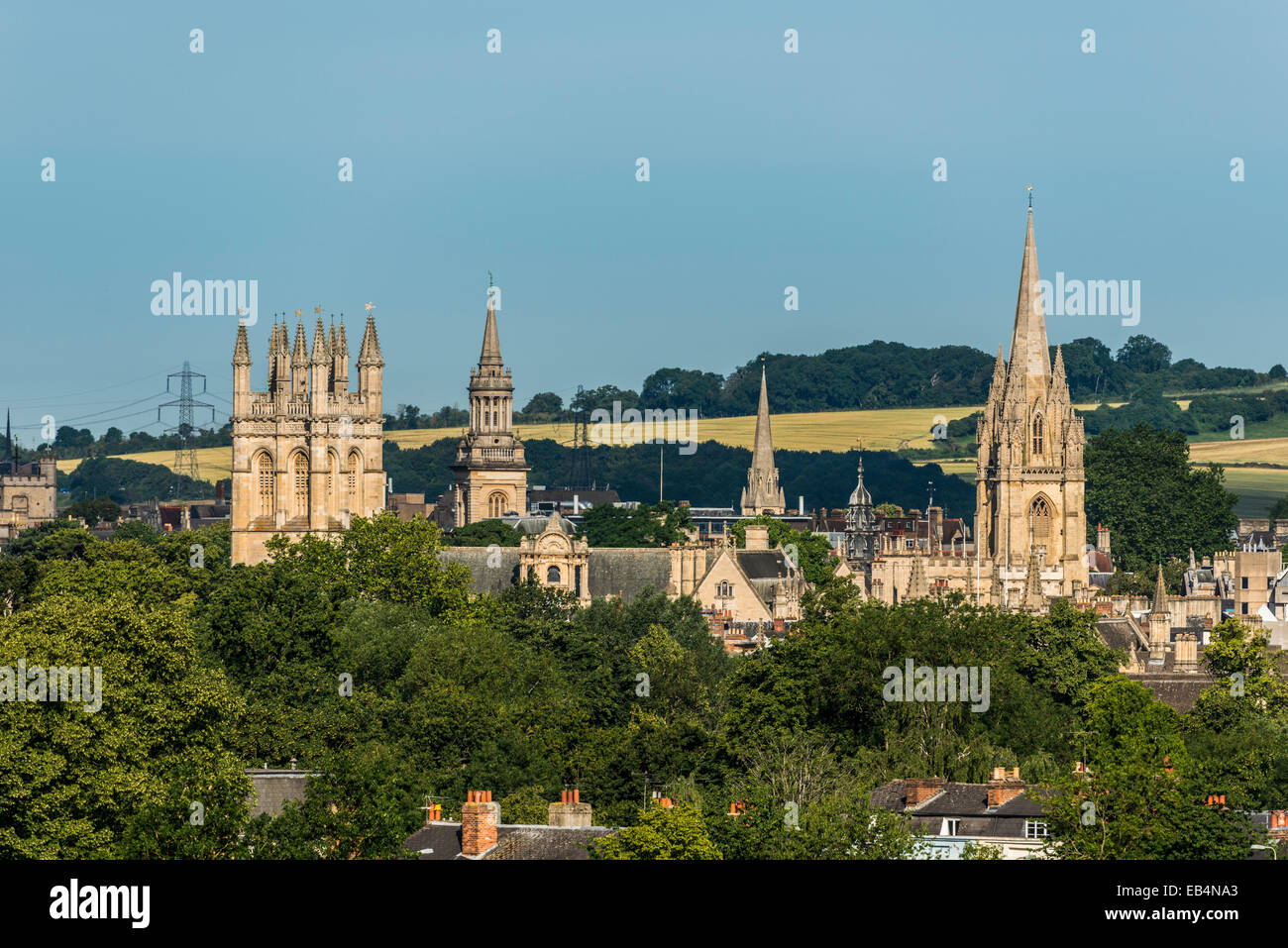 The dreaming spires of Oxford University including Lincoln College, University Church of St Mary and Merton College - Stock Image