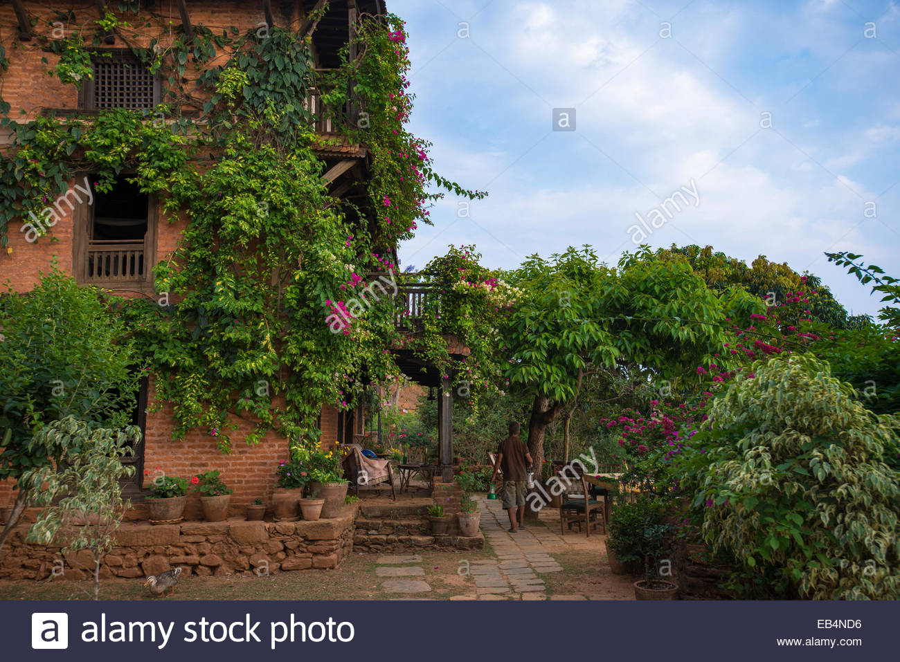 An historical Newari farmhouse in the traditional village of Nuwakot in Nepal - Stock Image