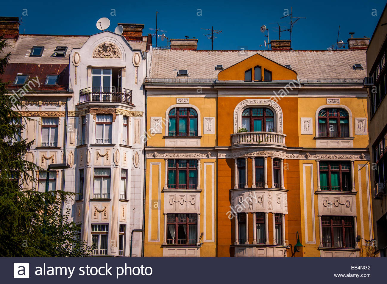Colorful Austro-Hungarian buildings in Sarajevo. - Stock Image