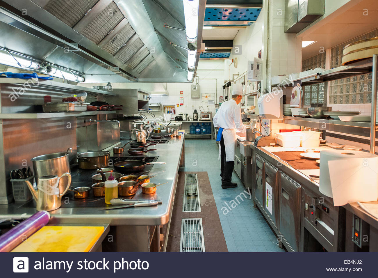 Behind the scenes of a professional kitchen in Lisbon, Portugal. - Stock Image