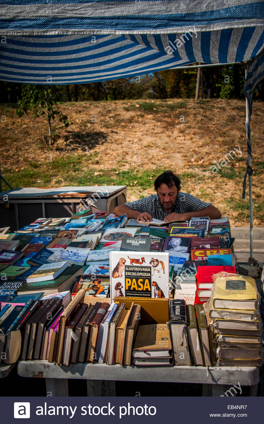 A book seller on the street in Belgrade. - Stock Image