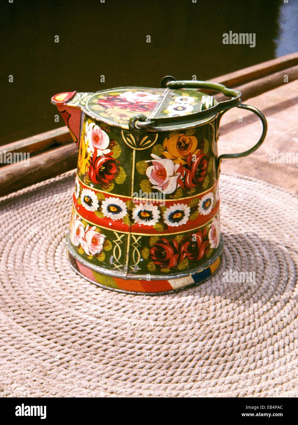 canalware jug pictured on narrowboat Stock Photo