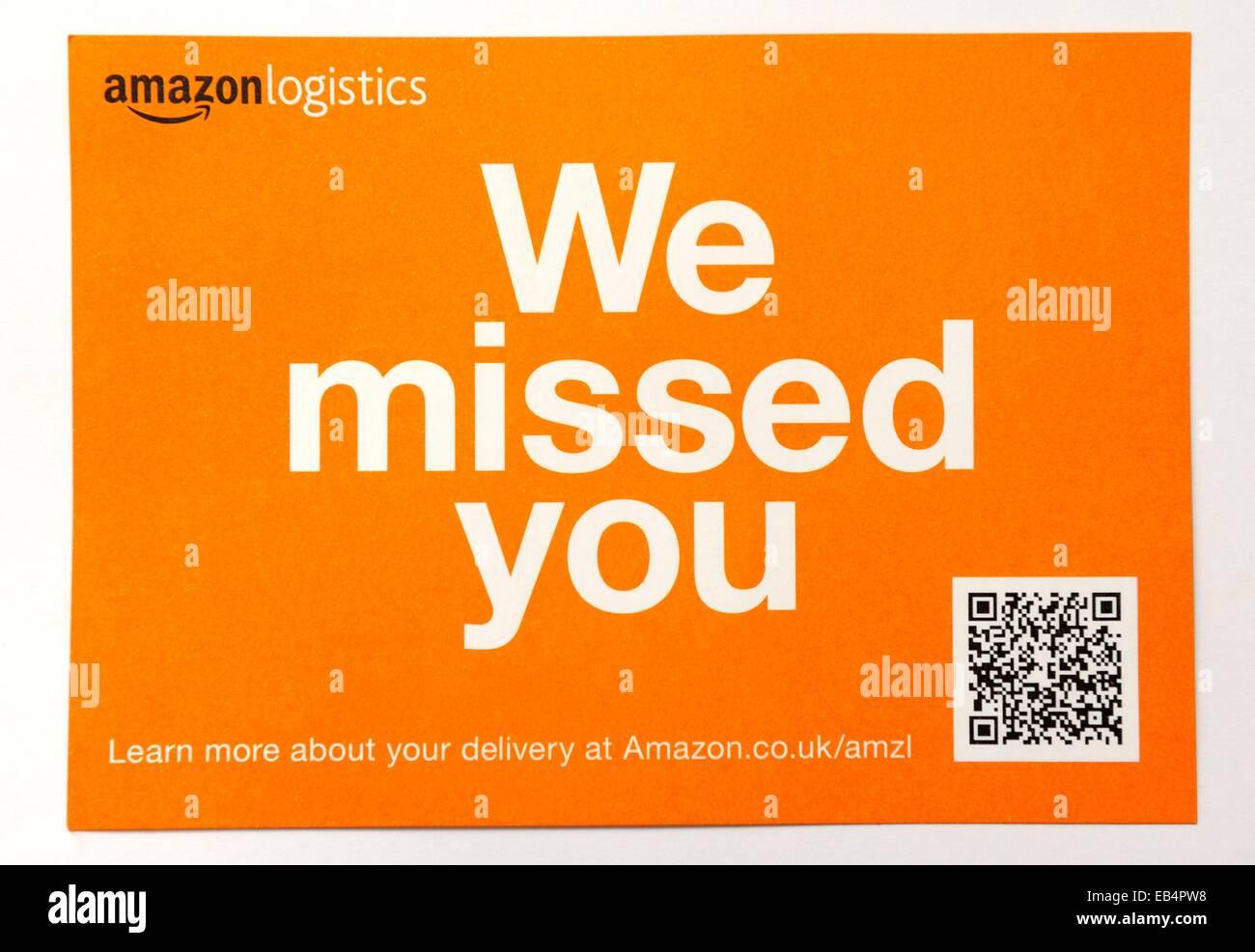Amazon logistics we missed you postcard England uk - Stock Image