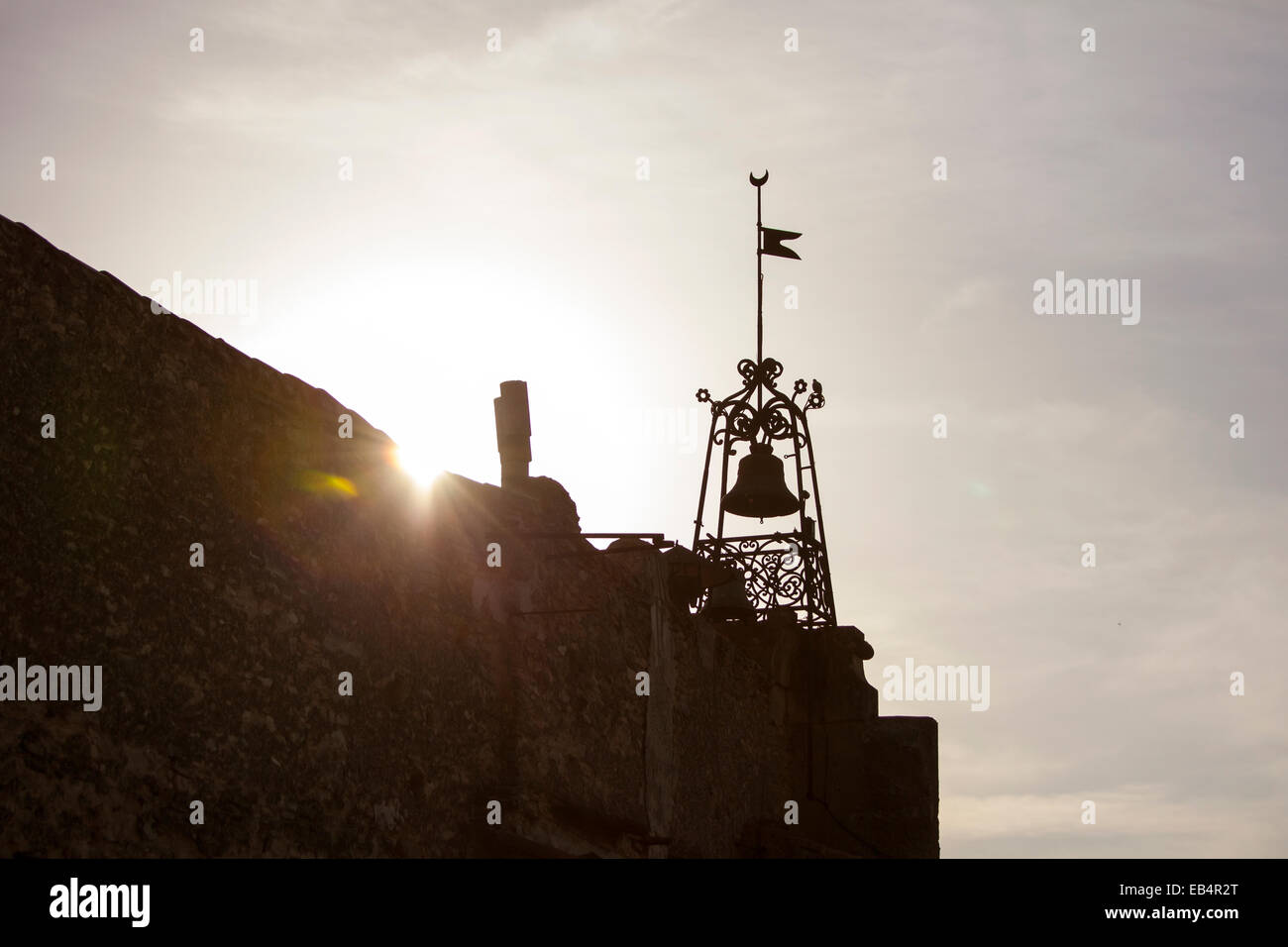 Church bell at sunset in Bonnieux, France - Stock Image