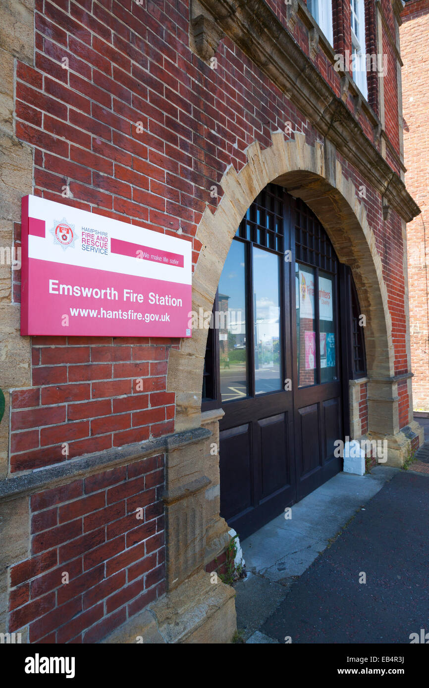 Emsworth Fire Station entrance with sign. Stock Photo