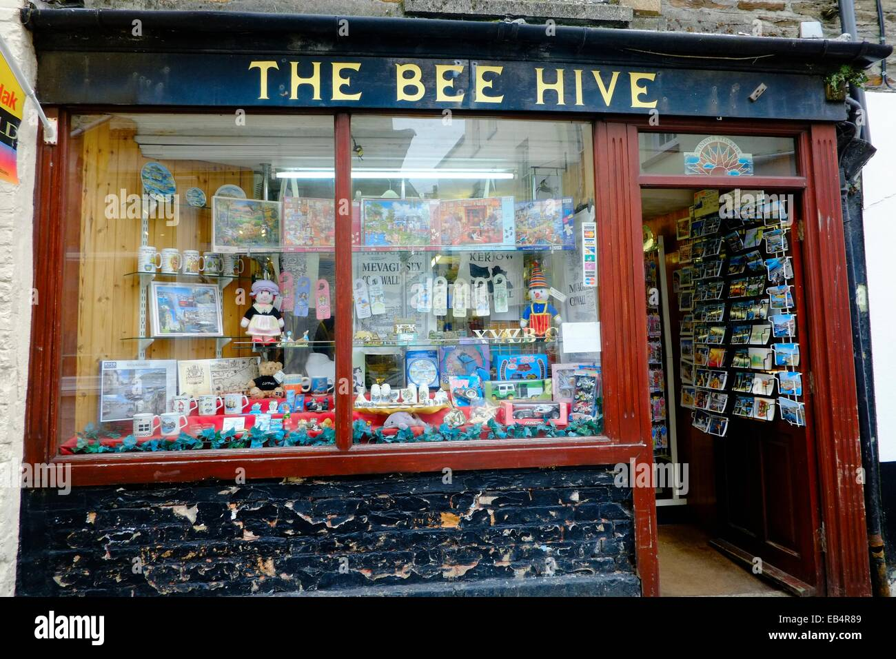 The Bee Hive seaside holiday gift shop in Mevagissey, Cornwall,England UK - Stock Image