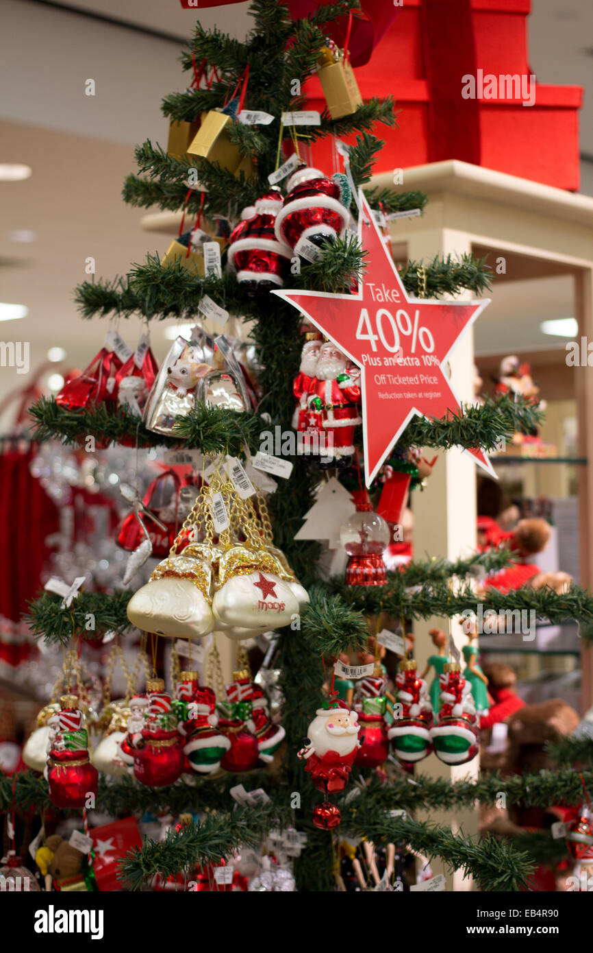 christmas tree decorations at macys department store in the florida mall orlando florida usa