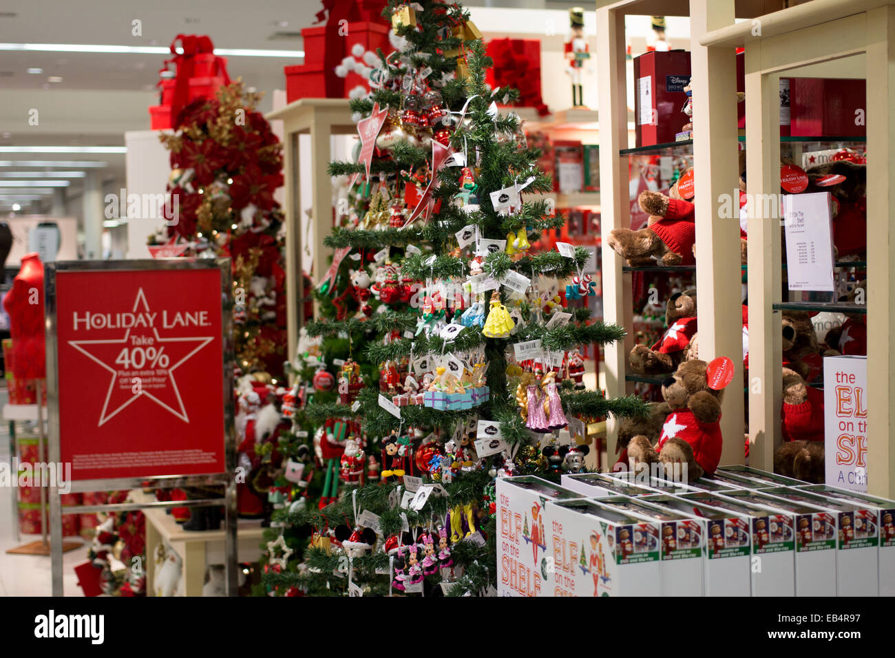 Christmas Tree Decorations At Macy's Department Store In