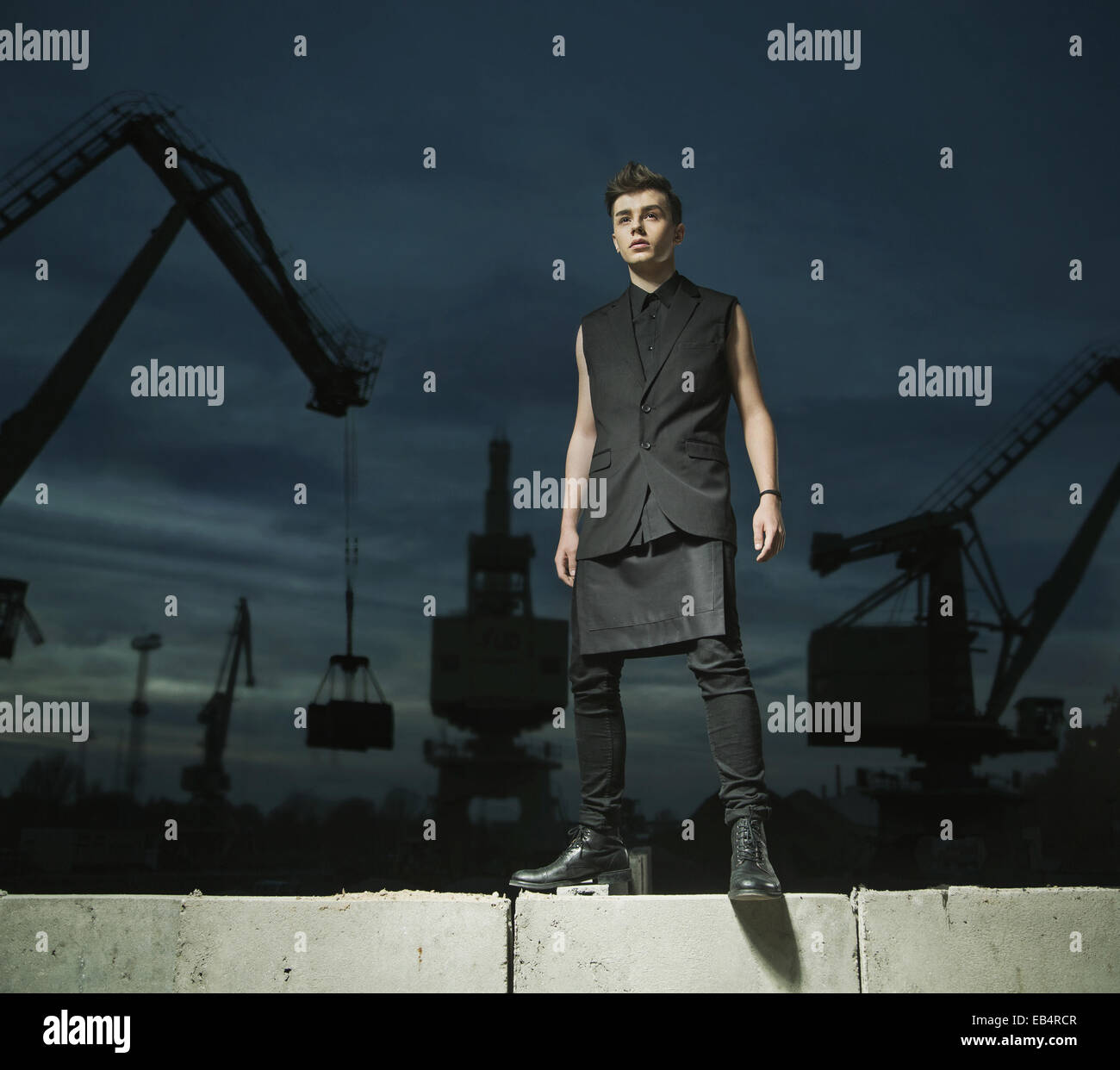 Fashion shot of the teenage handsome model - Stock Image