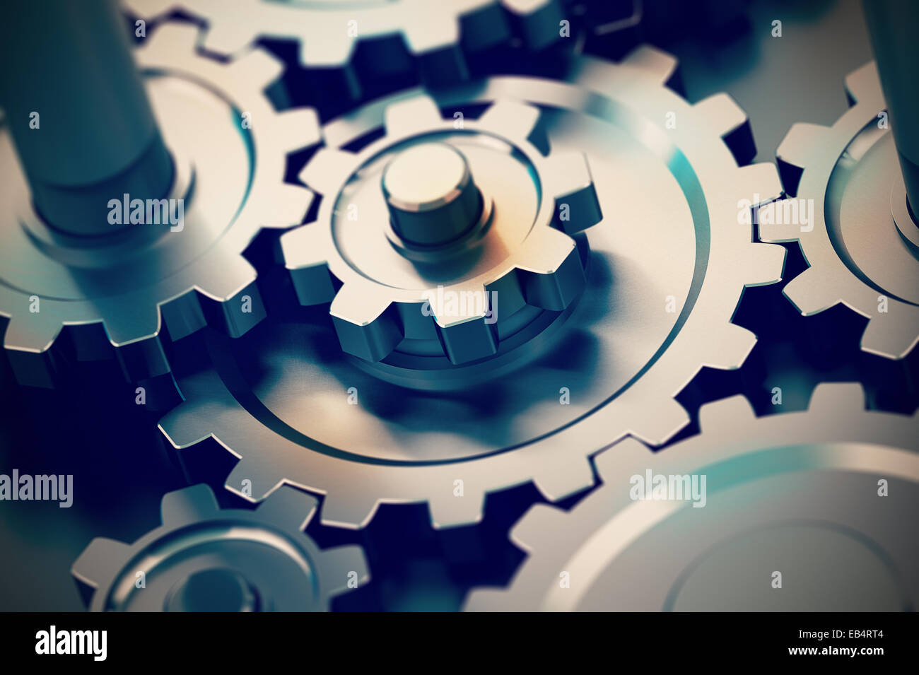 gear or cogwheel working together, movement transmission. Concept of teamwork - Stock Image