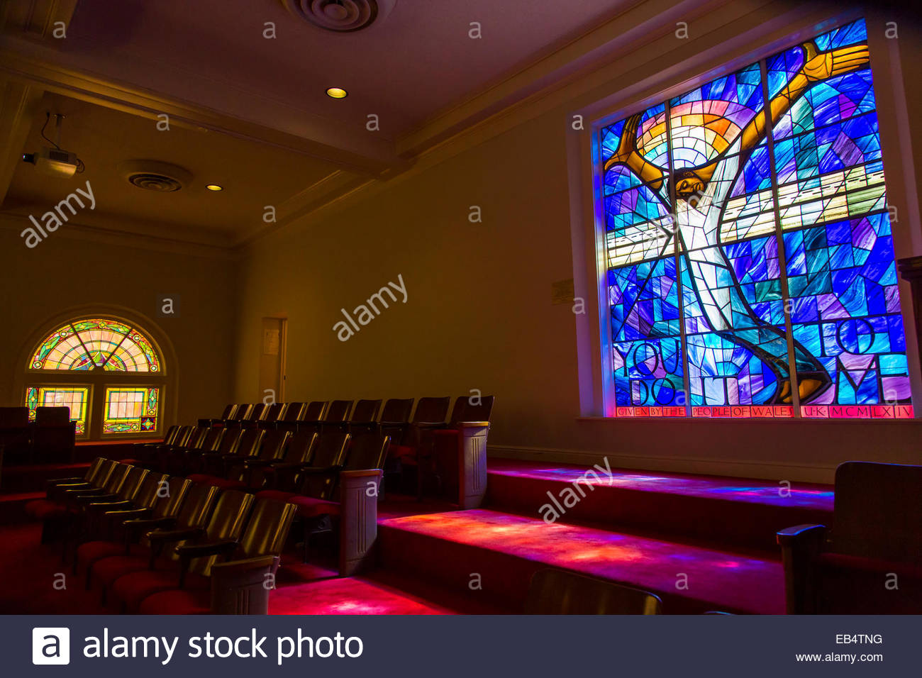 Memorial window at the 16th Street Baptist Church, from the people of Wales after the 1963 bombing. Stock Photo