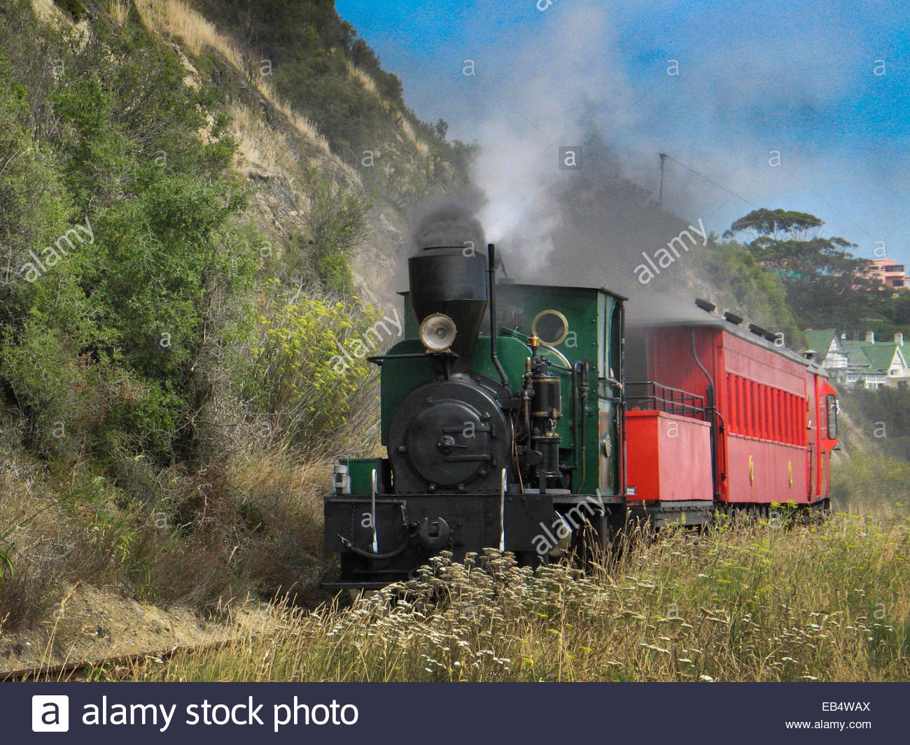 The 0-4-0 saddle tank steam locomotive of the Oamaru Steam and Rail Society, Limited, of Oamaru, New Zealand, on - Stock Image