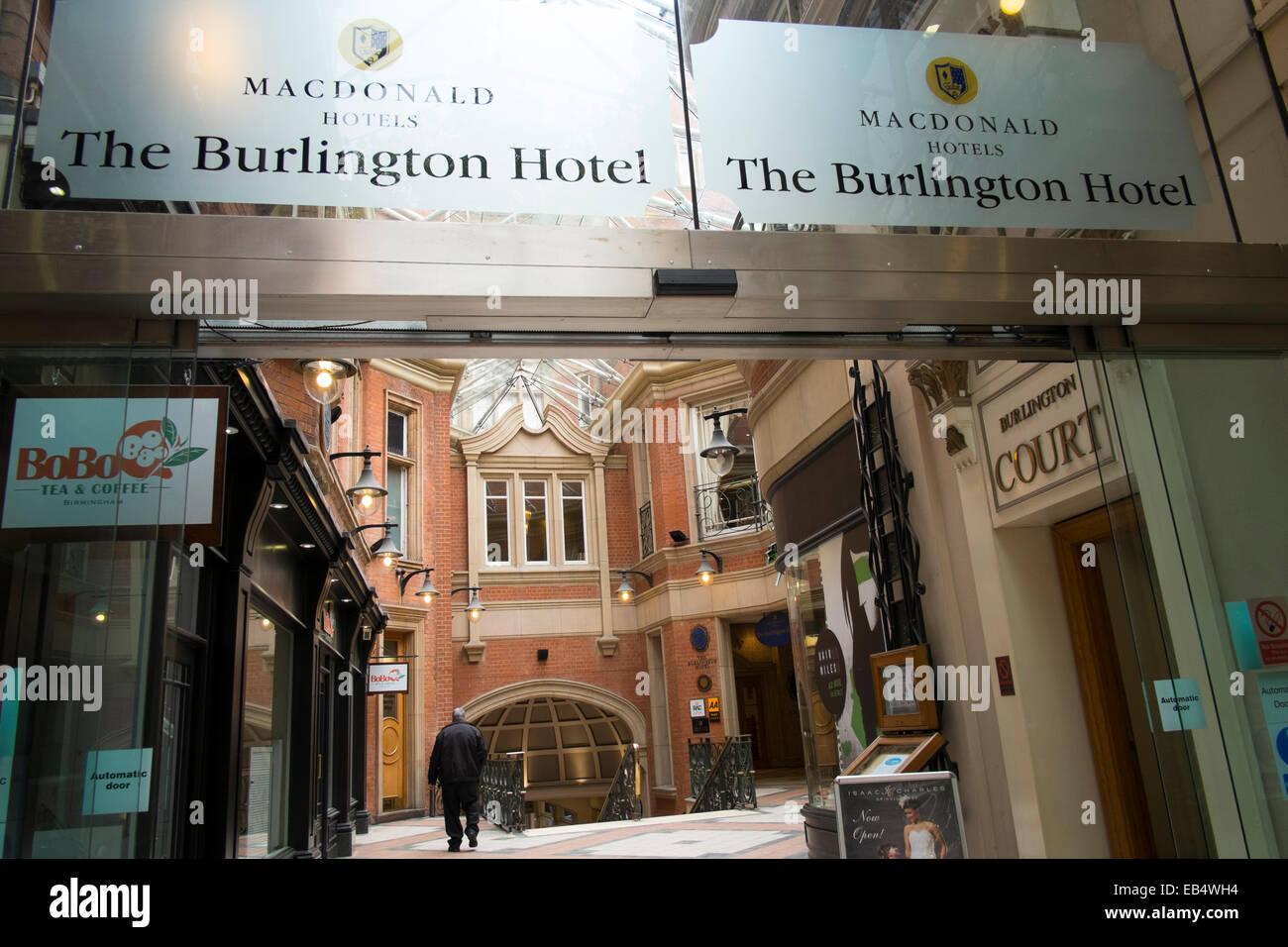 Entrance to the Macdonald Burlington Hotel, Birmingham, West Midlands, England, UK - Stock Image