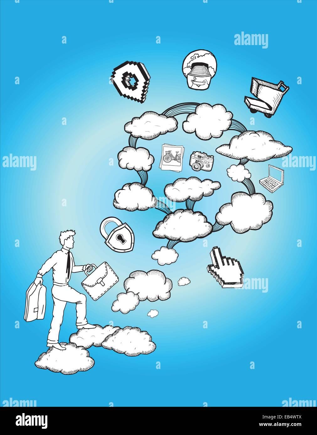 Cloud computing concept illustration - Stock Image
