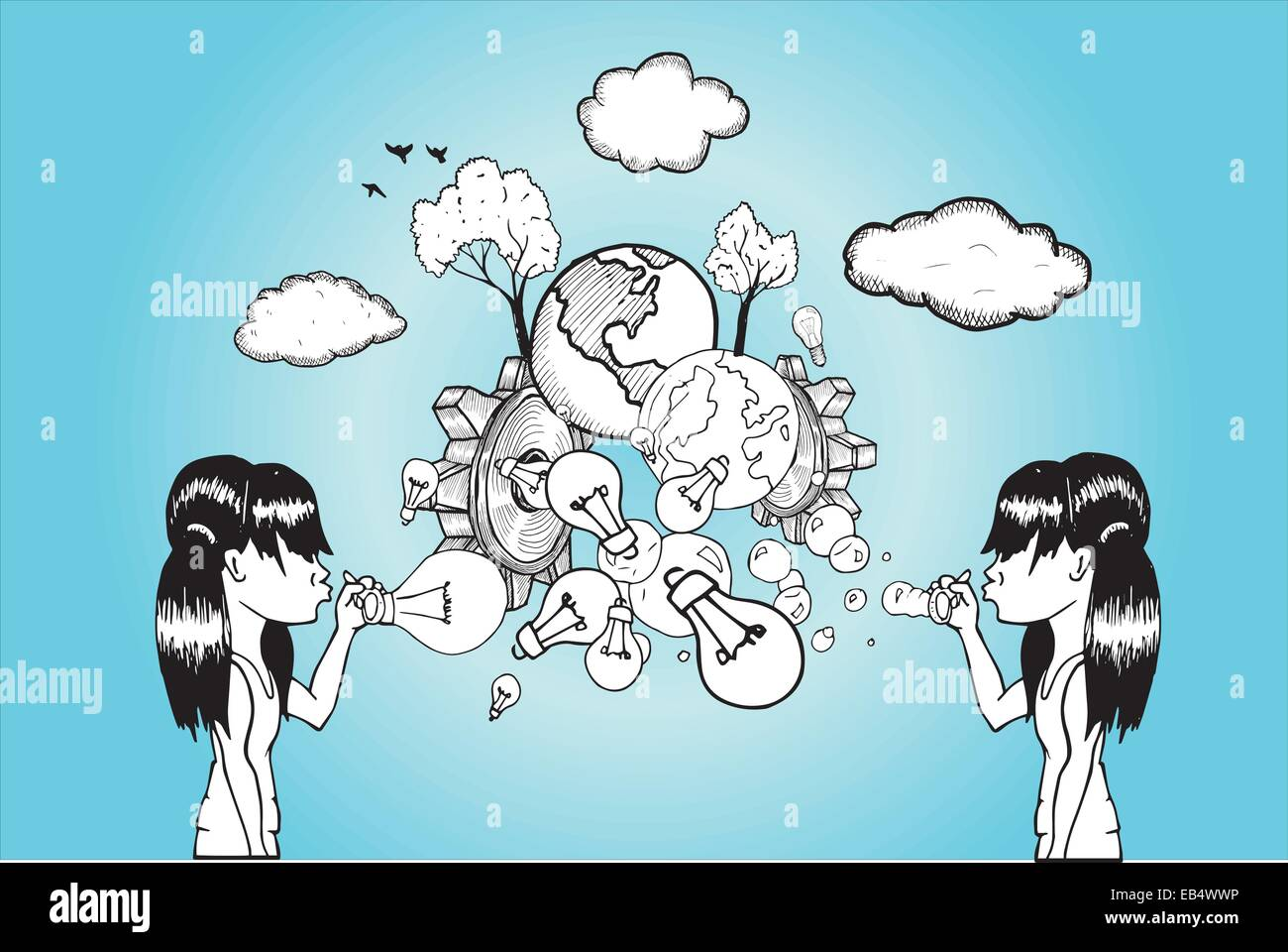 Girls blowing light bulb and earth bubbles - Stock Vector