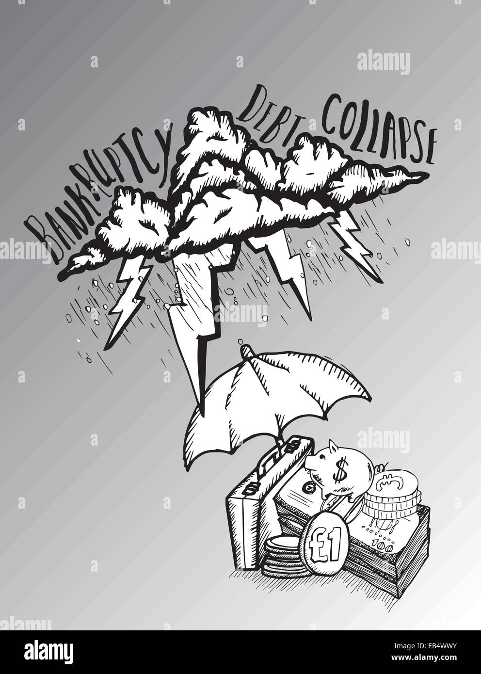 Umbrella protecting savings from debt storm - Stock Vector