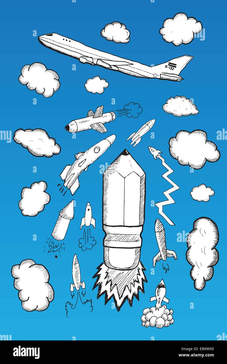 Rocket clouds and airplane illustrations Stock Vector Art