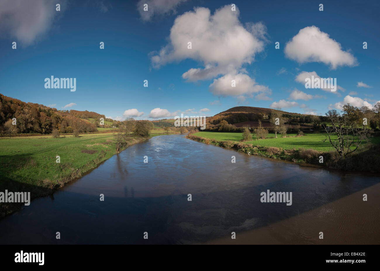 River Wye and Wye Valley taken from Bigsweir Bridge. THe river here is part of the border between England and Wales. - Stock Image