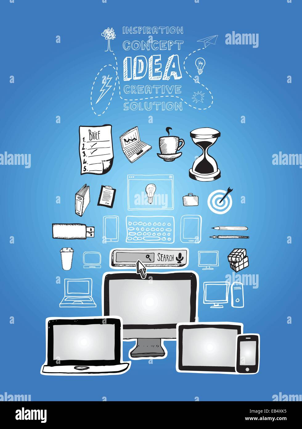 Media devices vector with internet search bar and business illustrations - Stock Vector