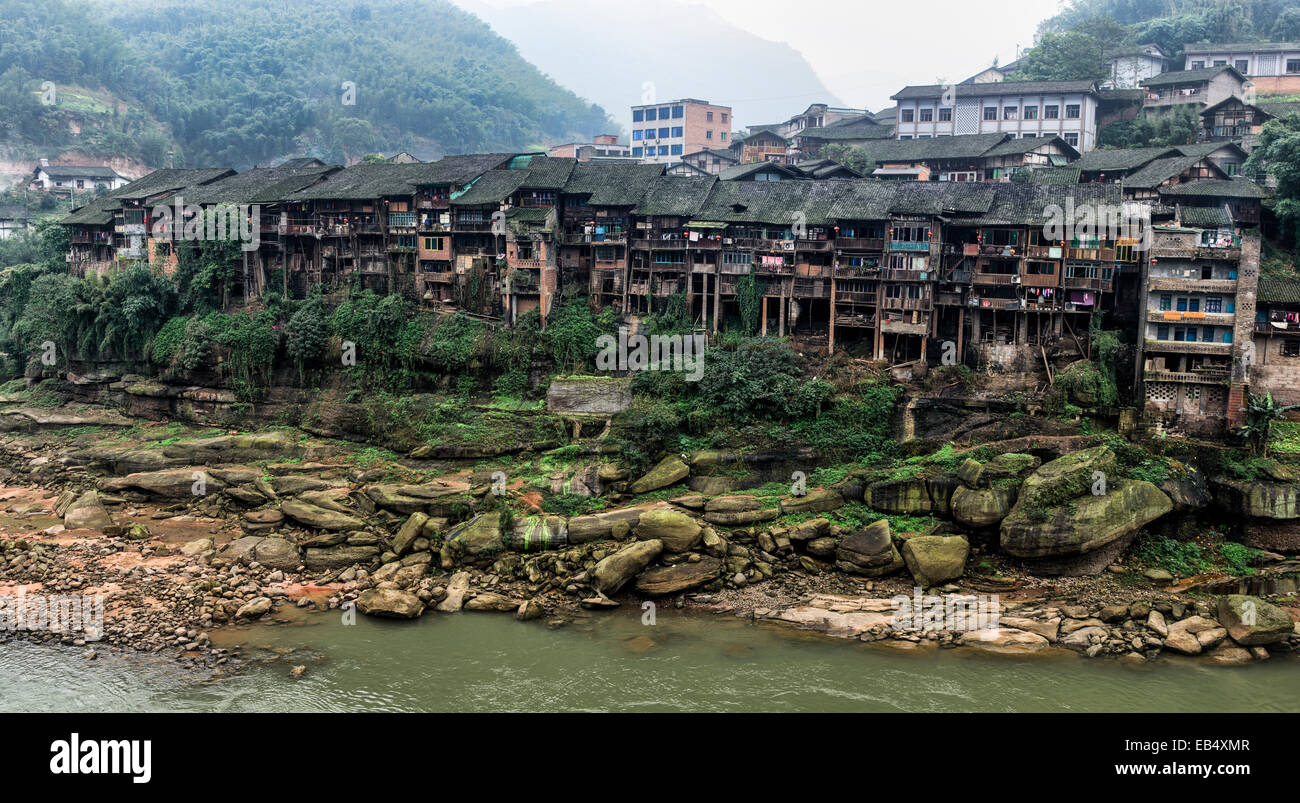 Traditional Chinese buildings, Guizhou province, China Stock Photo