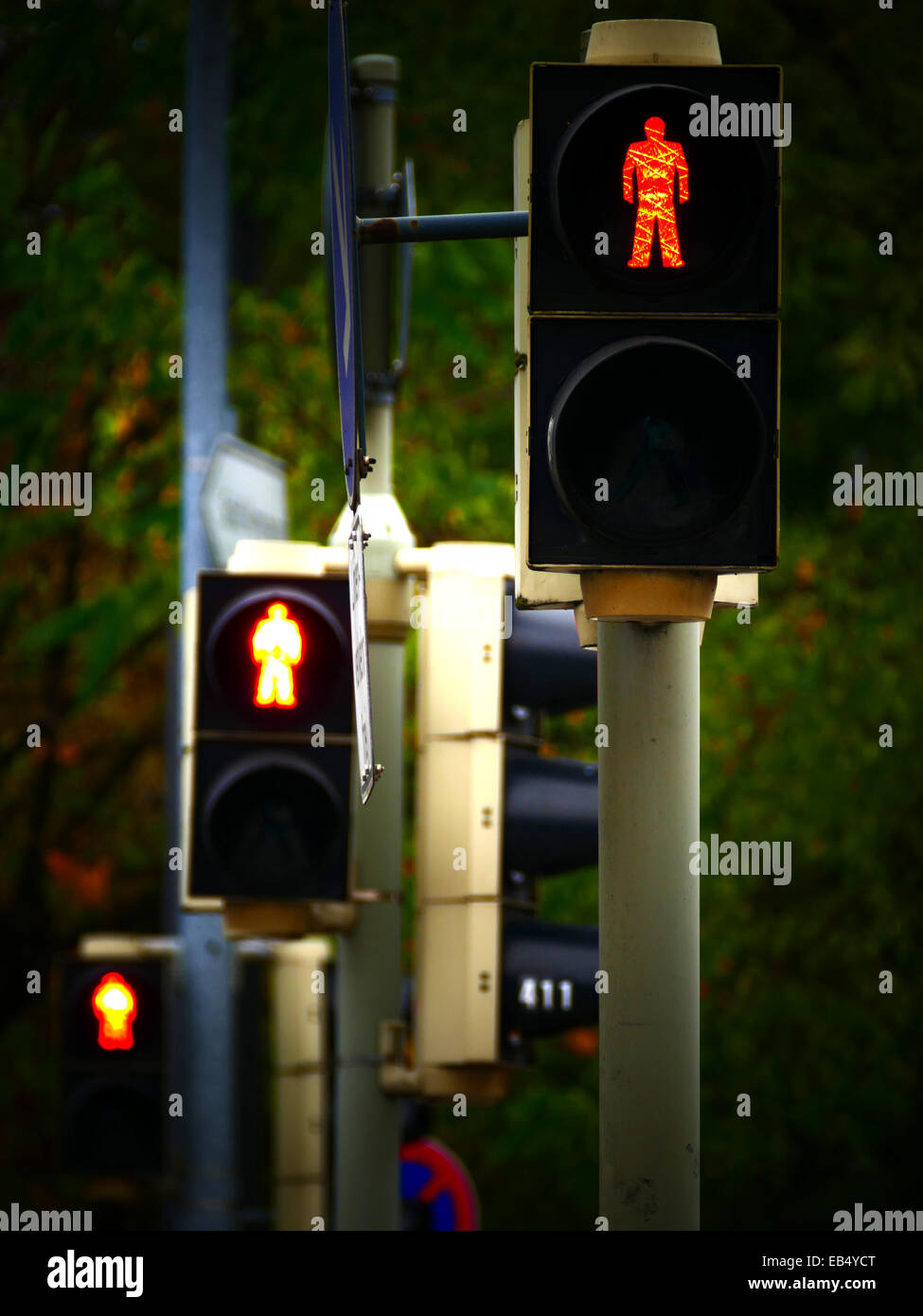 3 Traffic lights in a roll Red Green - Stock Image