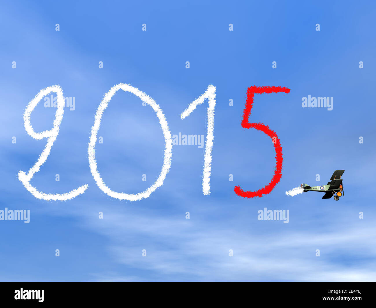 New year 2015 text from biplan smoke in blue sky - 3D render - Stock Image