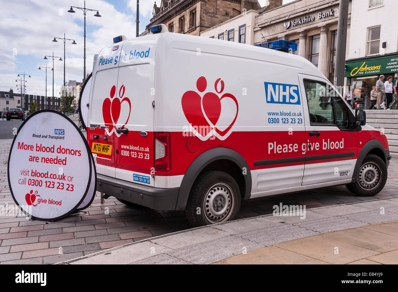 A van from NHS Blood donors trying to get more donors in Darlington , County Durham , England , Britain , Uk - Stock Image