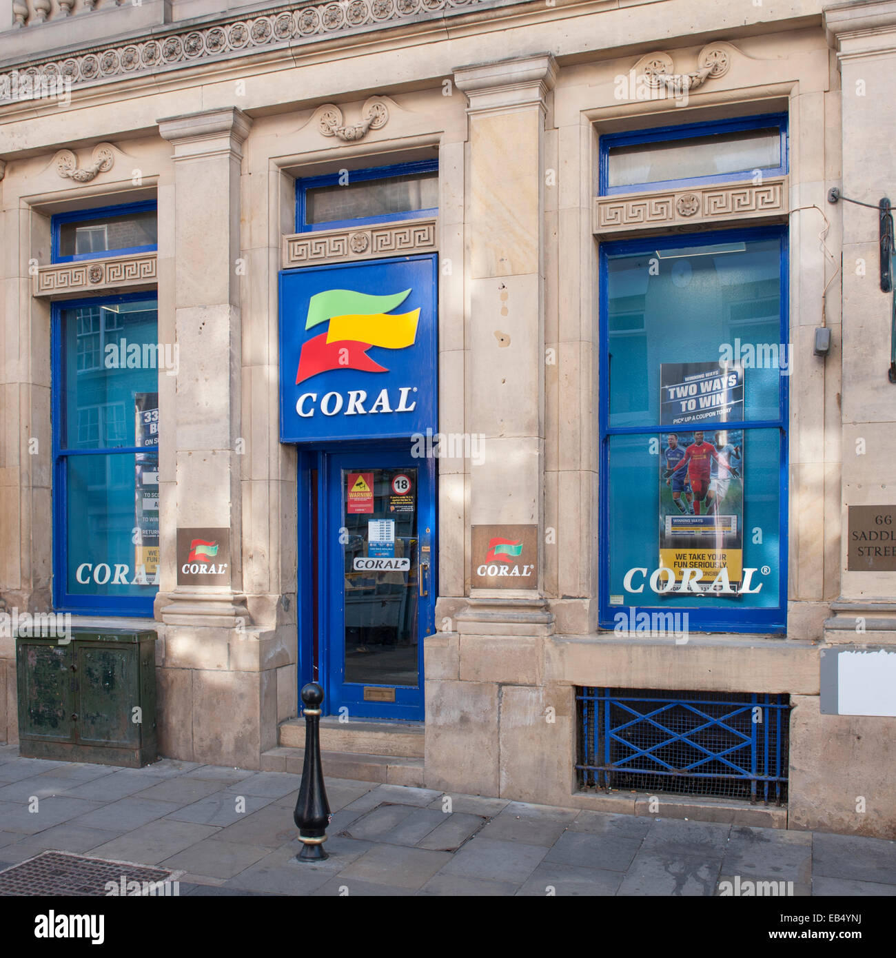 The Coral bookmakers in Durham , England , Britain , Uk - Stock Image
