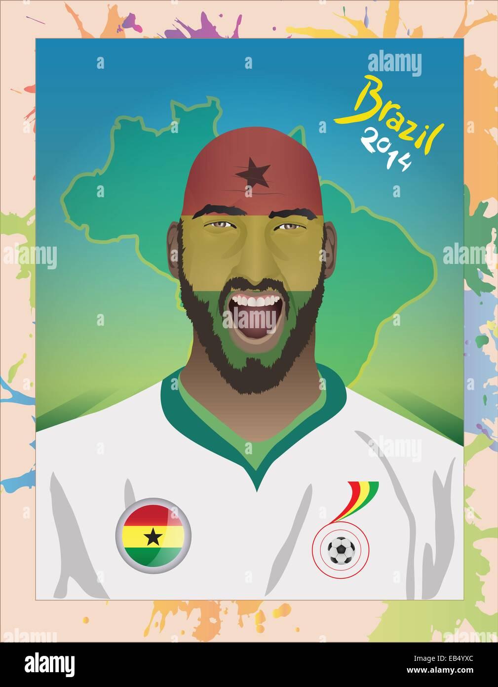 Ghana football fan shouting - Stock Vector