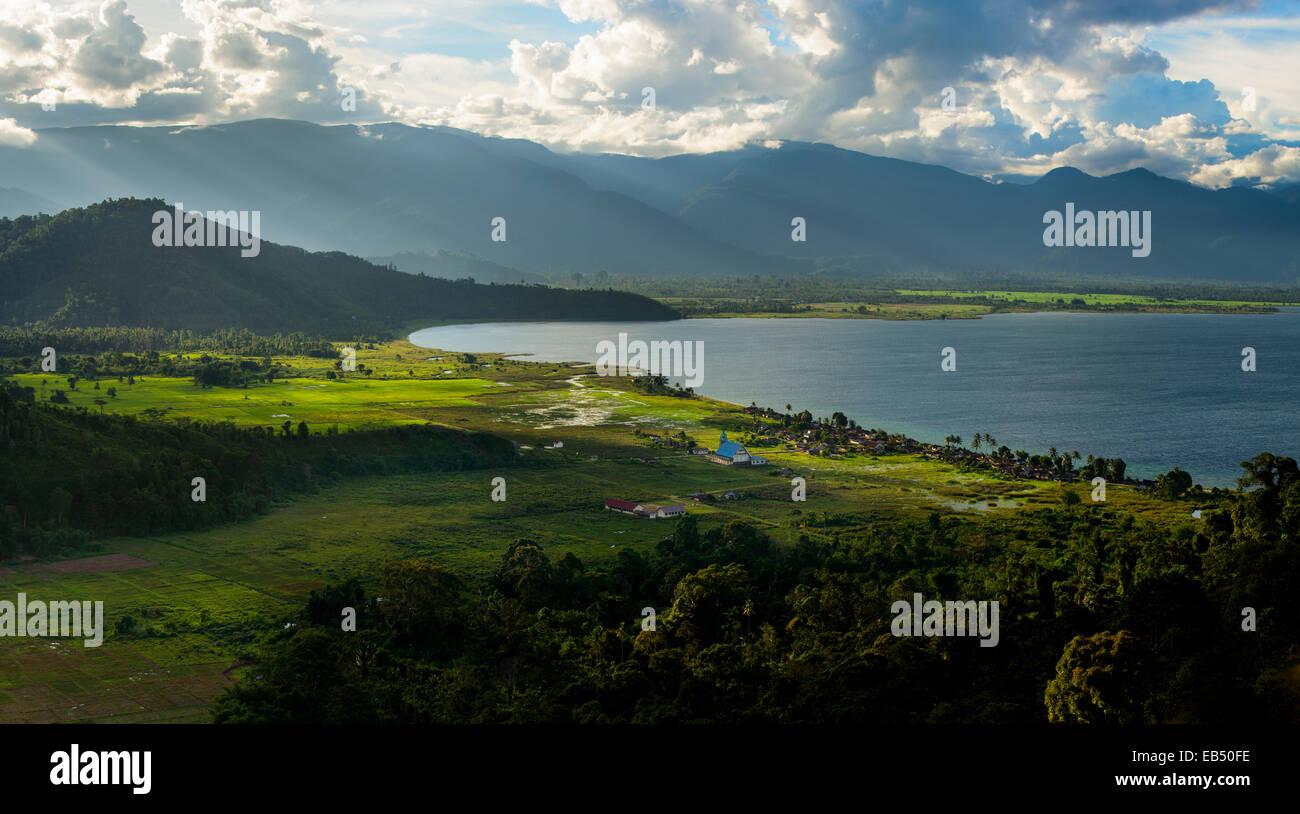 Village at Lake Danau poso, Sulawesi, Indonesia - Stock Image