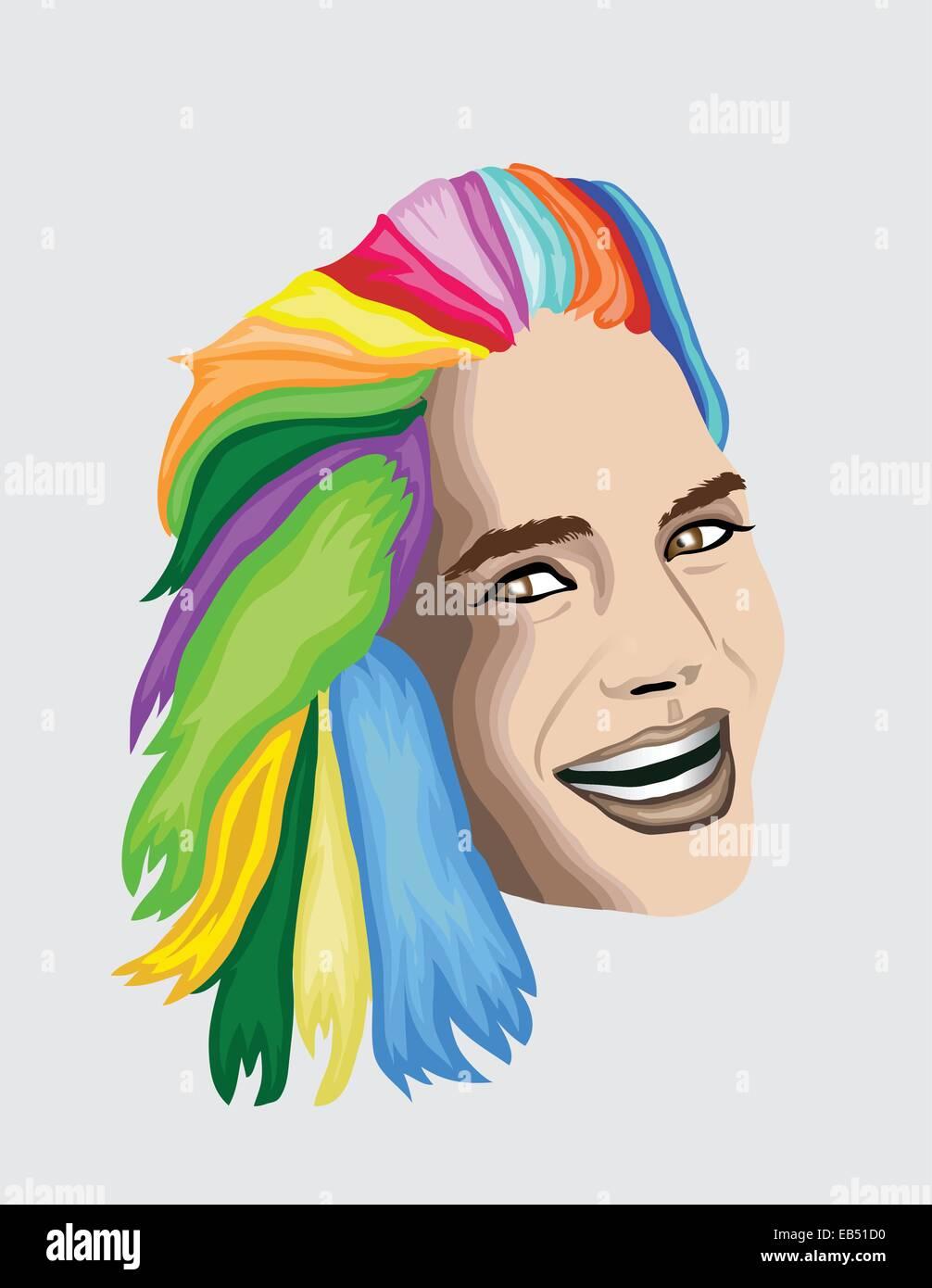Multi coloured hair woman - Stock Vector