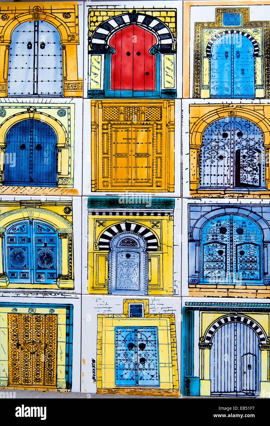 Tunisia, Sidi Bou Said, a shop of ceramic works, detail - Stock Image