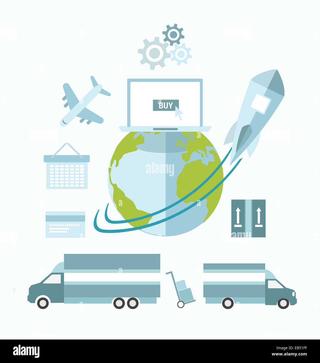 Global ecommerce vector with earth and transport - Stock Image