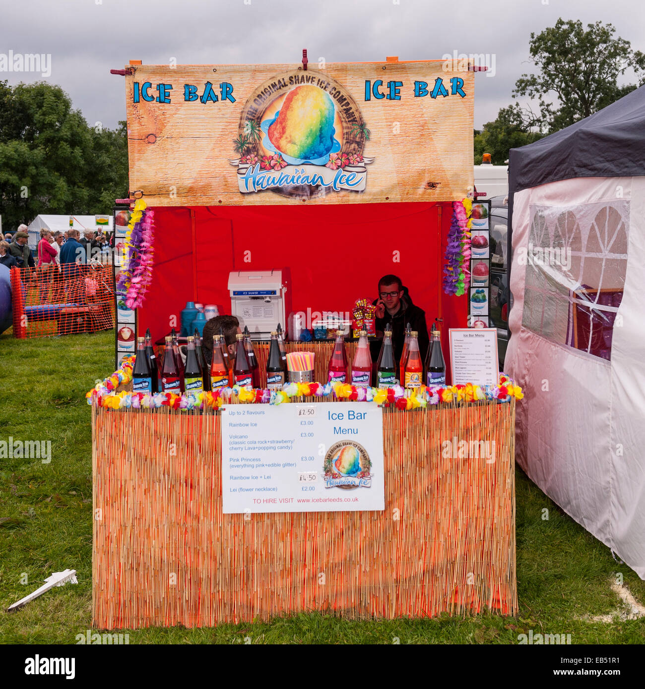 An ice slush bar stall at Reeth show , Swaledale in the Yorkshire Dales in Yorkshire , England , Britain , Uk - Stock Image